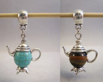 Tibetan Silver tea pot charm, charm, pendant choice of Turquoise or tiger eye