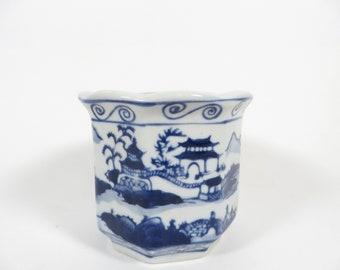 Vintage Blue White Asian Planter Vase - Blue White Chinnoiserie - Small Blue White Planter