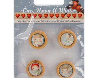 ScrapBerry's Once Upon A Winter Wooden Frame Buttons 4/Pkg