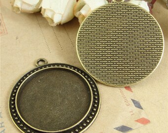 5 Antique Bronze 30mm Round Bezel Cups AH4240