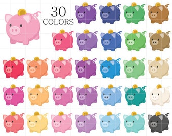 Piggy Bank Clipart, Piggy Bank Clip Art, Piggy Bank Clipart, Digital Banks, Rainbow Piggy Bank Clipart, Saving Money Clipart, Money Clipart