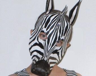 Zebra Mask, Halloween mask, animal mask, masquerade mask, costume mask, theatre performance mask, dance performance mask