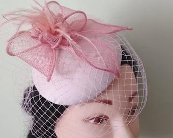 Blush pink Fascinator with Veil, Bridal Birdcage Veil