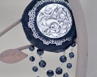 Goth Hair Accessory, Art Nouveau Hair Accessory, Steampunk Hair Accessory, Silver Hair Accessory, Silver Hair Jewelry,  Silver Hair Pin