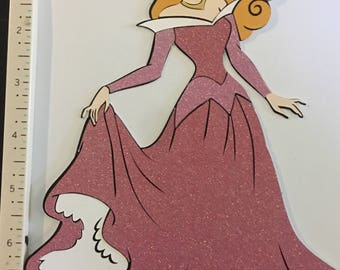 Sleeping beauty aurora layered printed die cuts 8 inch tall 6 inch wide perfect for scrapbooking, centerpiece , wall decor