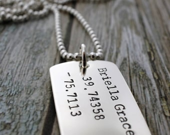 Custom Coordinates - Men's Dog Tag Necklace in Sterling Silver - Military Style Latitude Longitude Necklace - Gifts for Dad
