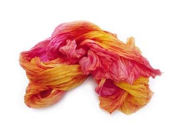 orange silk scarf - Summer sunset -  orange, yellow, hot pink, magenta silk scarf.