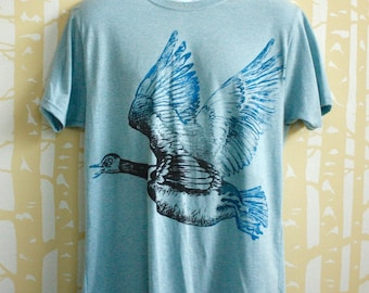 NEW MEN'S hand printed Flying Canada Goose Tee in 100% recycled jersey in ice blue or cinder, choose your size and color