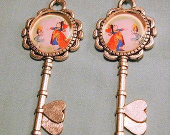 Steampunk Fantasy Queen of Hearts & Alice in Wonderland Heart Key Earrings