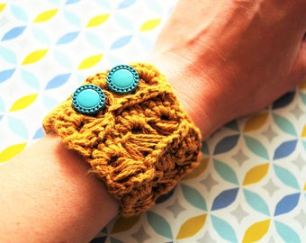 Bracelet crochet cable cotton and linen