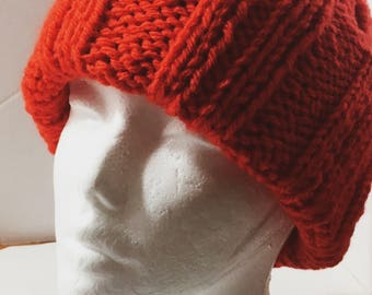 Chunky Ribbed Slouchy Mock Cable Knitted Beanie Hat Bright Orange Large Size
