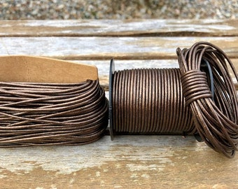 Brown Metallic Round Leather Cord 2mm, 1 yard to 25 Yards Made In India - LCR2-103