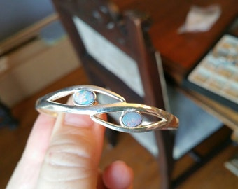 Solid Sterling Silver Cuff Bracelet with Two Opals
