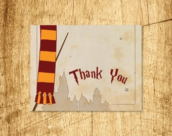 "Harry Potter Inspired Thank You Card  |  Blank Interior  |  Printable Digital Download  |  5.5x4.25"" A2"