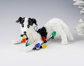 Borzoi Ornament White and Black Christmas Lights Porcelain Clearance