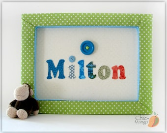 Personalized Baby Gift Wall Art For boys Kids Room Decor Framed Nursery Decor Polka Dots Kids Room Button Wall Art Green Room Decor , Milton