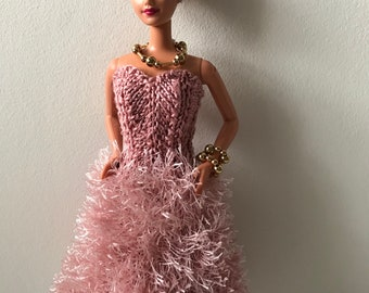 Barbie clothes - Handknitted beautiful pink dress with furry skirt