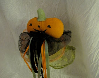 Miniature Jack O' Lantern Jester Stick