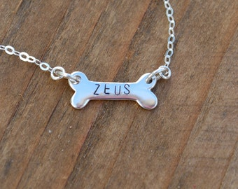 Personalized dog bone necklace, sterling silver bone, hand stamped bone, pet necklace, pet remembrance, dog bone name