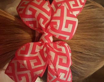 HOT PINK and white Aztec  bow