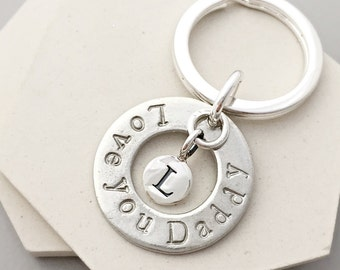 Love you Daddy - Fathers Day Keyring - new dad keyring - personalised keyring - new dad gift - new dad keychain - pewter keychain
