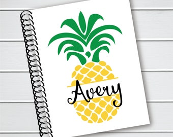 Personalized Notebook, Pineapple Spiral Notebook, Writing Journal (NB-005-PC)