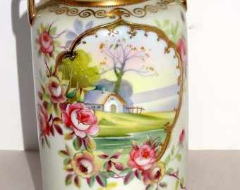 Hand Painted Nippon China Handled Flower Vase Farm Scene with Gold Leaf Home and Garden Decor Vases Flower Vases