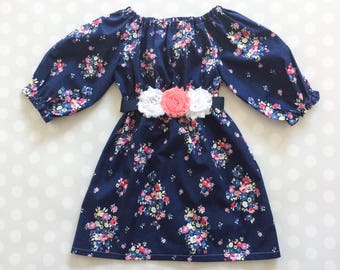 Navy Floral Girl's Spring Dress - Easter Dress tor Girls - Easter Dress - Baby Girl Easter Dress - Girls Dresses - Floral Dresses