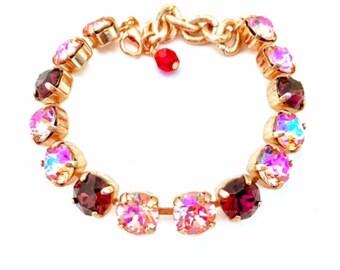 Swarovski Crystal Bracelet - Rose Peach Glacier Blue and Burgundy Tennis Bracelet, Rhinestone Bracelet , Great Gift