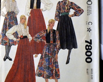 Vintage Sewing Pattern McCall's 7800 Misses Vest Blouse and Skirt   Size 12 Bust 34 Complete Uncut