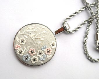 Light Grey Clay Pendant Applique Necklace Clay Flowers Floral Pendant Embroidery Necklace Art Necklace Clay Jewellery Polymer Clay Jewelry