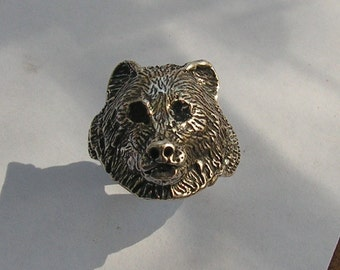 Sterling Silver Bear Ring With Black Eyes