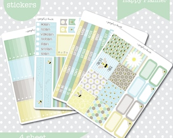 Mini Happy Planner BEE HAPPY Spring Themed Planner stickers Weekly Kit 4 Sheets