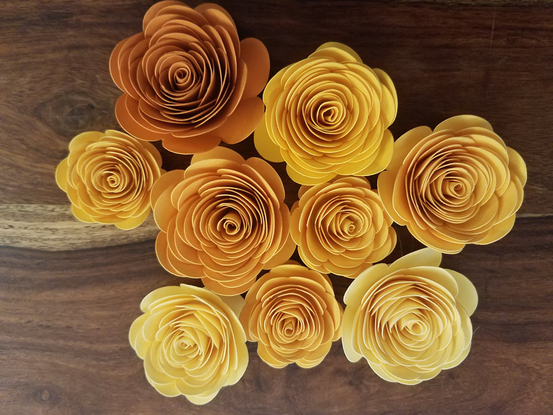 Yellow And Orange Paper Flowers Yellow Orange Spiral Flowers
