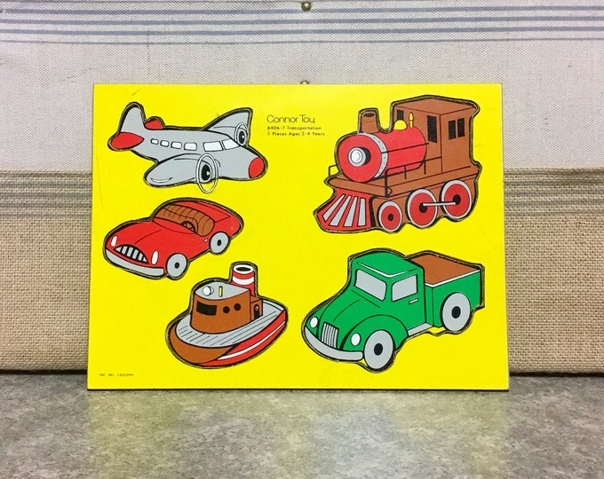Vintage CONNOR TOY Five (5) Piece Wooden Tray PUZZLE Transportation