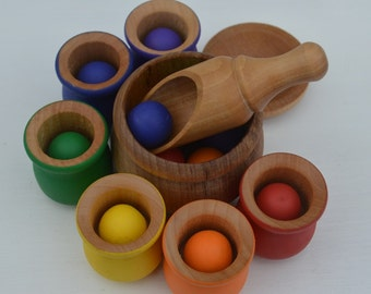 Balls and Cups 20 Pc. Deluxe Set  Montessori Sorting Counting Matching Wooden Sensory Toy  (Please read description for size)