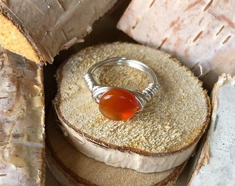 Carnelian Ring- Size 7- Silver Wire Wrapped