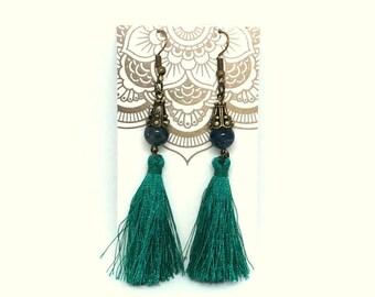 green tassel earrings, tassel earrings, apatite earrings, apatite jewelry, dangle earrings, handmade earrings, tassel jewelry, boho earrings
