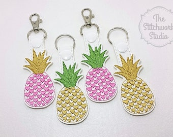 Pineapple Keychain - Pineapple Hearts - Key Fob - Pink Pineapple - Gold Pineapple - Multiple Color Options!