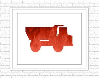 Truck Print | 8x10 Printable Art Print | Boy Nursery Wall Art | Nursery Printable | Nursery Subway Art | Instant Download Printable, Red