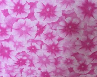1 yard - pink, light pink, dark pink, floral, flowers - 100% cotton fabric