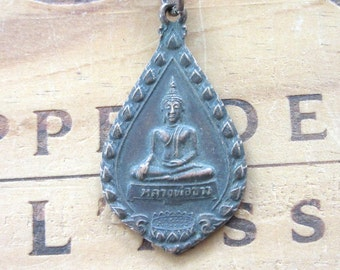 Vintage Buddha Buddhist Medal Necklace Mens Necklace