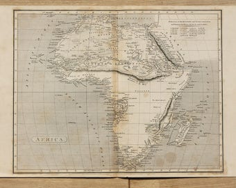 Antique Map of Africa, Continent, 1807 Black and White Engraving by Arrowsmith & Russell