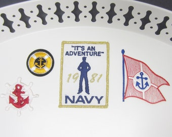 Navy Embroidered Iron on Patches Military Flag Anchor Nautical Adventure 1981 Captain Boat Sea Mixed Lot of Vintage Appliques (21)