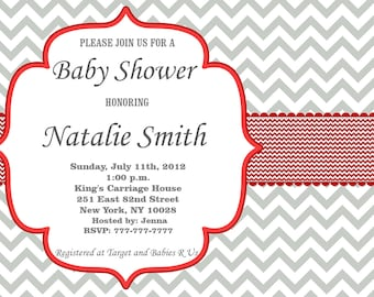Baby Shower Invitation Girl Baby Shower invitations Printable Baby Shower Invites -FREE Thank You Card - editable pdf Download (596) red