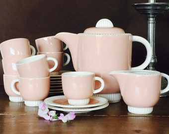 Vintage French Pink and White Villeroy et Boch Mittlach Coffee Set- Meteore  Pattern