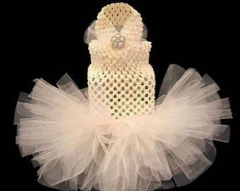 Ivory Wedding Dog Dress-White Dog Tutu-White Dog Dress-Wedding Dress for Dogs-Dog Bride-Ivory Dog Dress-Dog Wedding-Dog Wedding Outfits