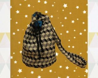 "Bucket bag ""Kubik"", fabric optical illusion and burlap"