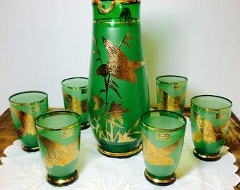 Egermann Czech Republic Green Pitcher & Six Cups with 24k Gold Birds, Egermann, Egermann Glass, Vintage Glass, Vintage Glassware,  Glassware