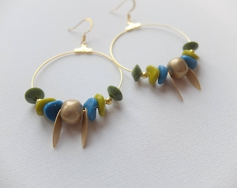 Gold tone with green and blue beads earrings